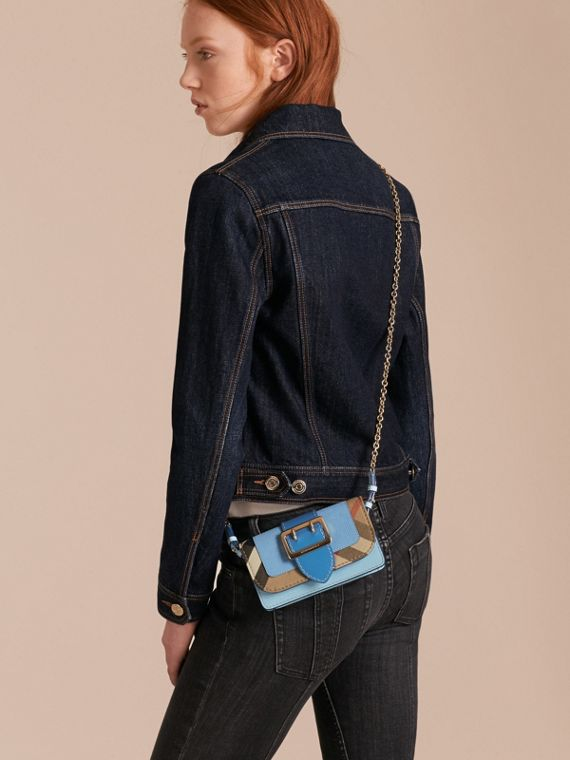 Bright mineral blue The Mini Buckle Bag in Leather and House Check Bright Mineral Blue - cell image 2