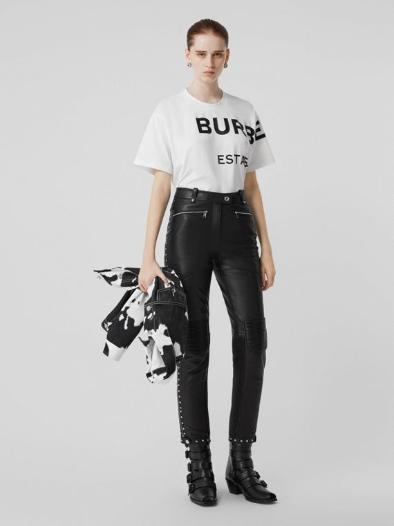 Horseferry Print Cotton Oversized T-shirt in White