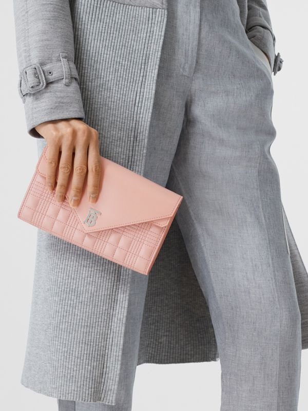 Quilted Lambskin Wallet with Detachable Chain Strap in Blush Pink - Women | Burberry - cell image 2