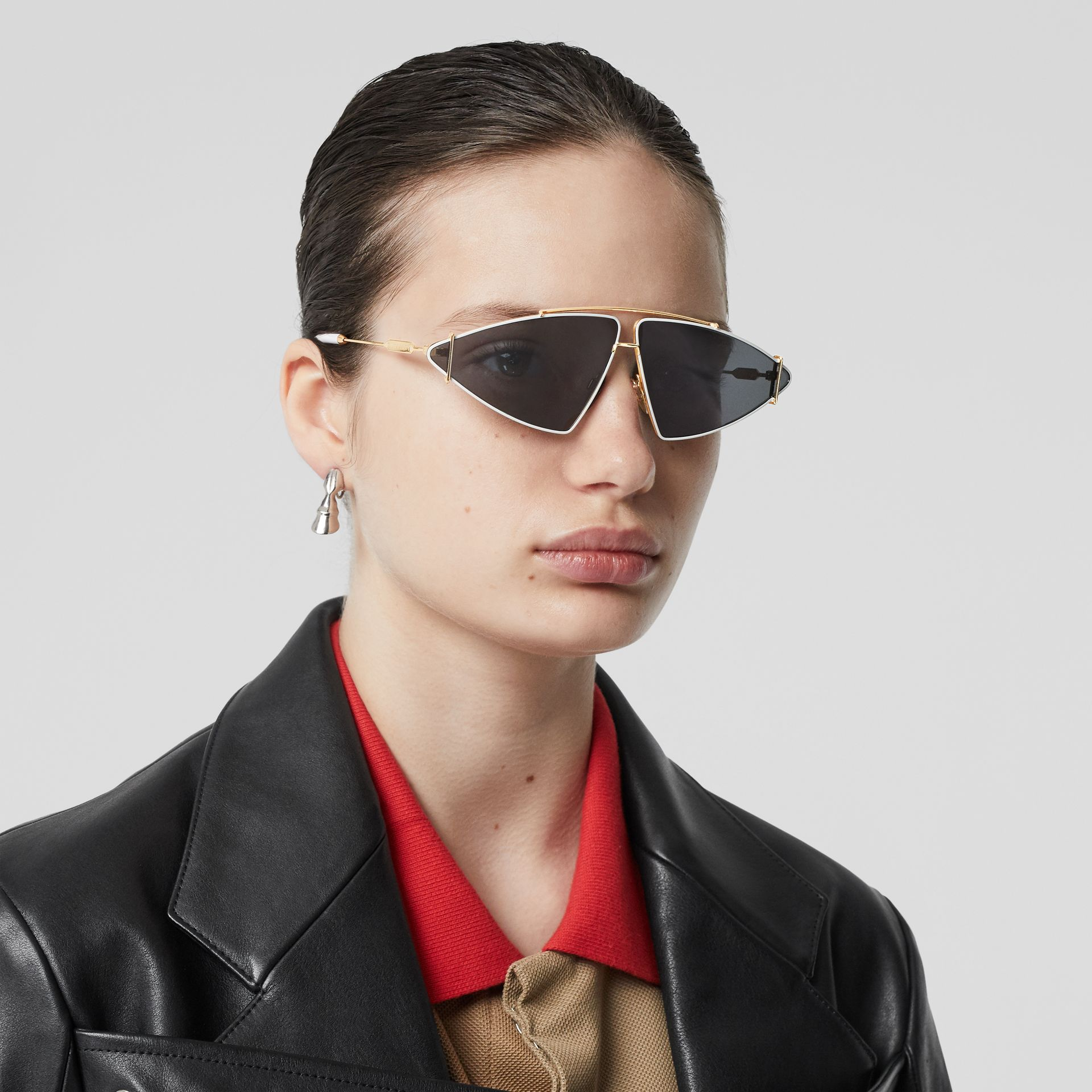 Gold-plated Triangular Frame Sunglasses in White - Women | Burberry Australia - gallery image 2