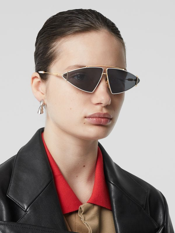 Gold-plated Triangular Frame Sunglasses in White - Women | Burberry Australia - cell image 2