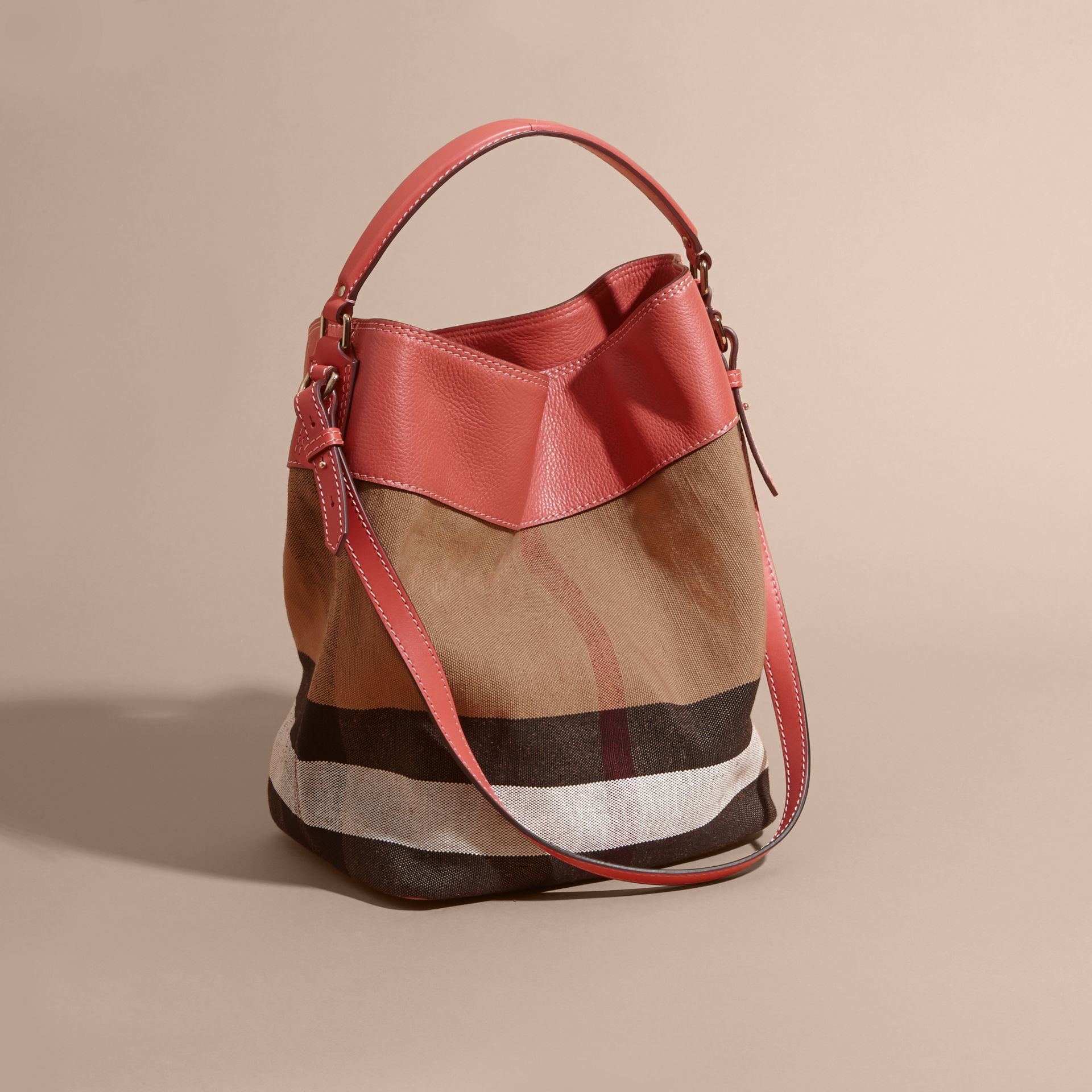 The Medium Ashby in Canvas Check and Leather in Cinnamon Red - gallery image 4