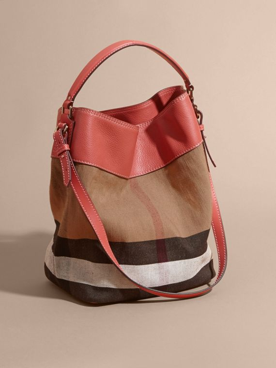 The Medium Ashby in Canvas Check and Leather Cinnamon Red - cell image 3