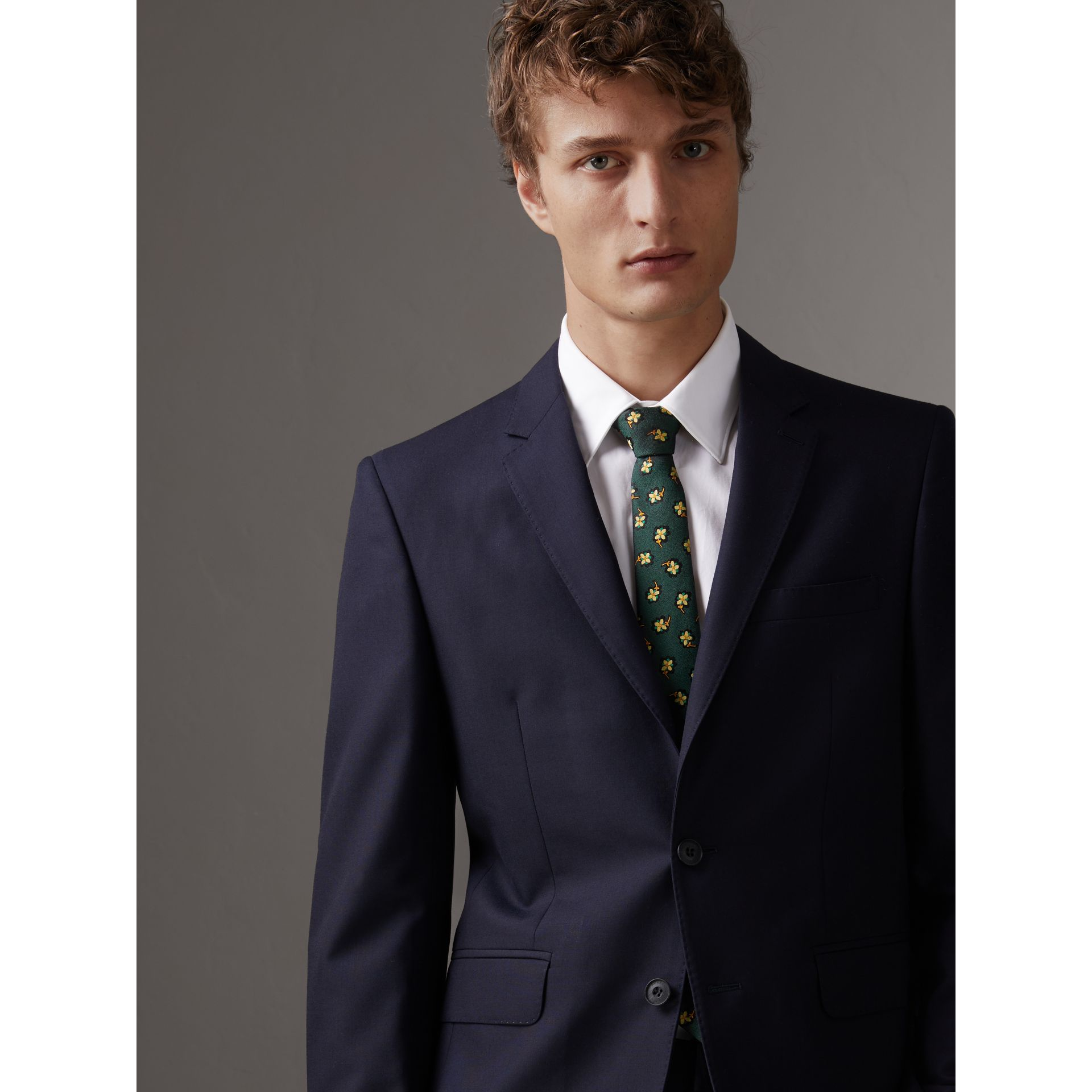 Slim Cut Floral Silk Brocade Tie in Pine Green - Men | Burberry - gallery image 2
