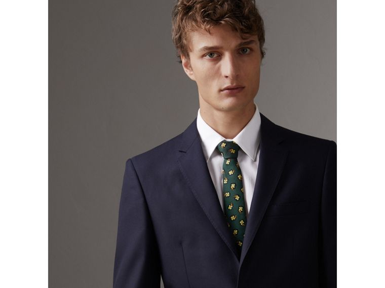 Slim Cut Floral Silk Brocade Tie in Pine Green - Men | Burberry - cell image 2