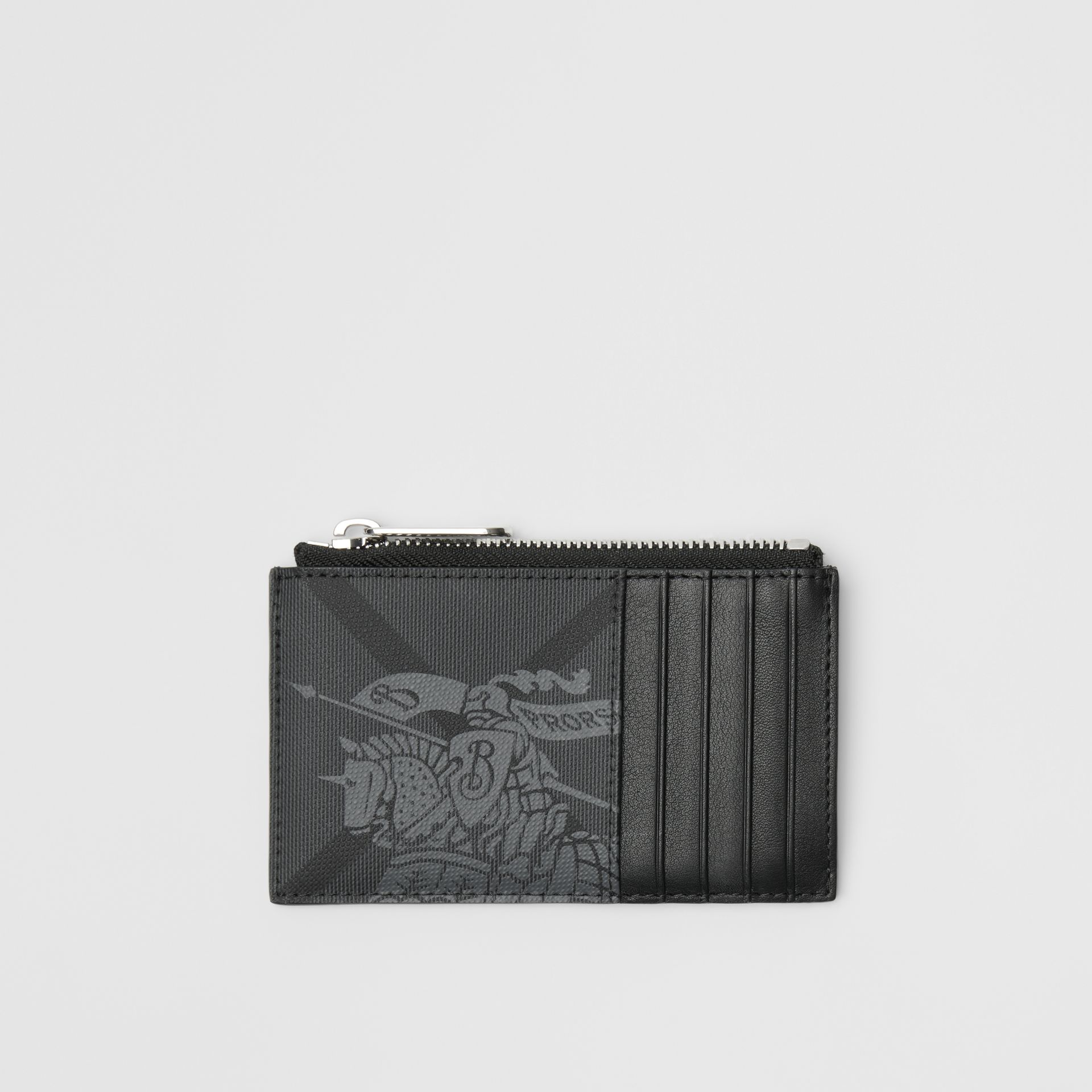 Equestrian Knight Print and Leather Zip Card Case in Charcoal/black - Men | Burberry - gallery image 0