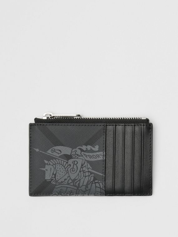 Equestrian Knight Print and Leather Zip Card Case in Charcoal/black