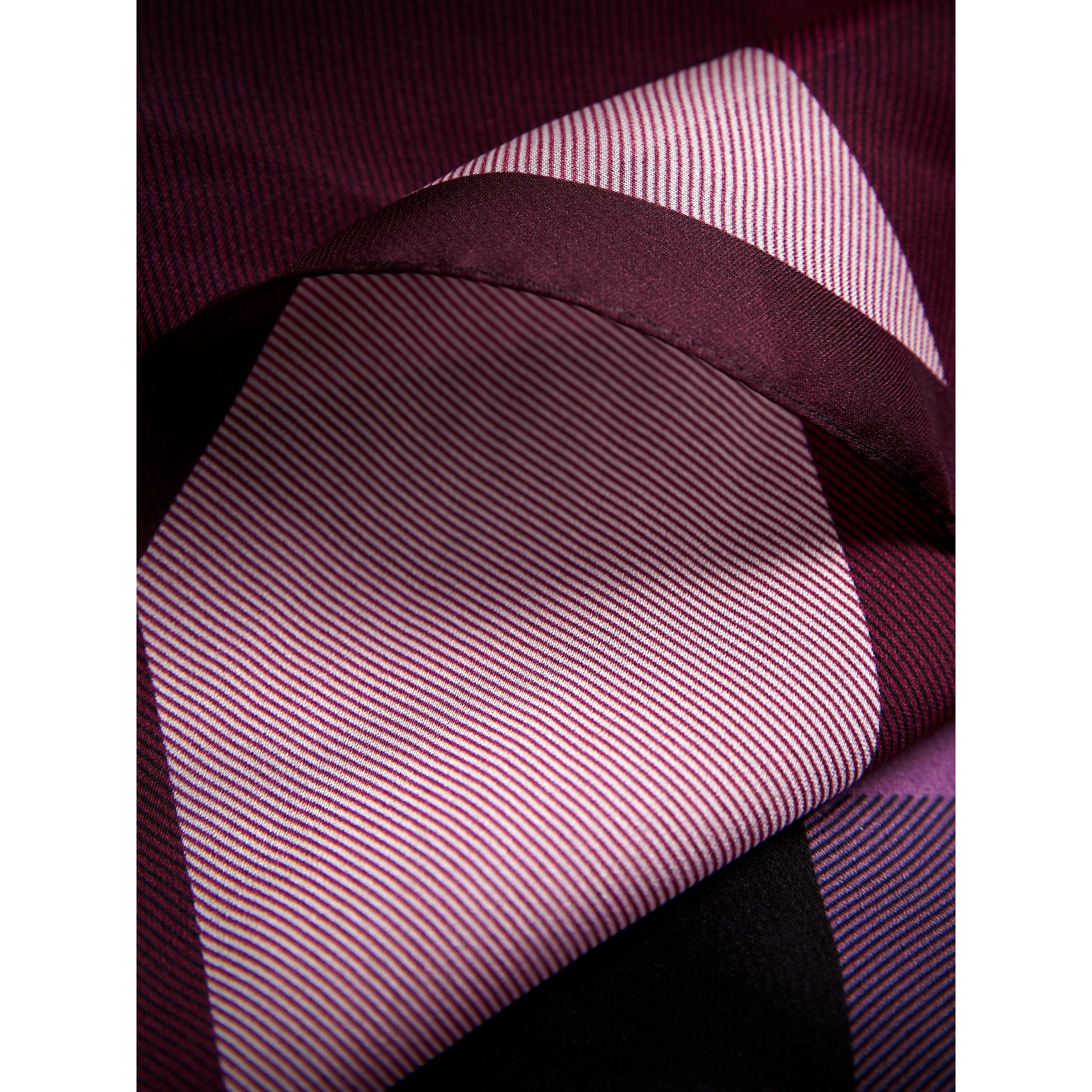 Ombré Washed Check Silk Scarf in Plum - Women | Burberry Singapore - gallery image 2
