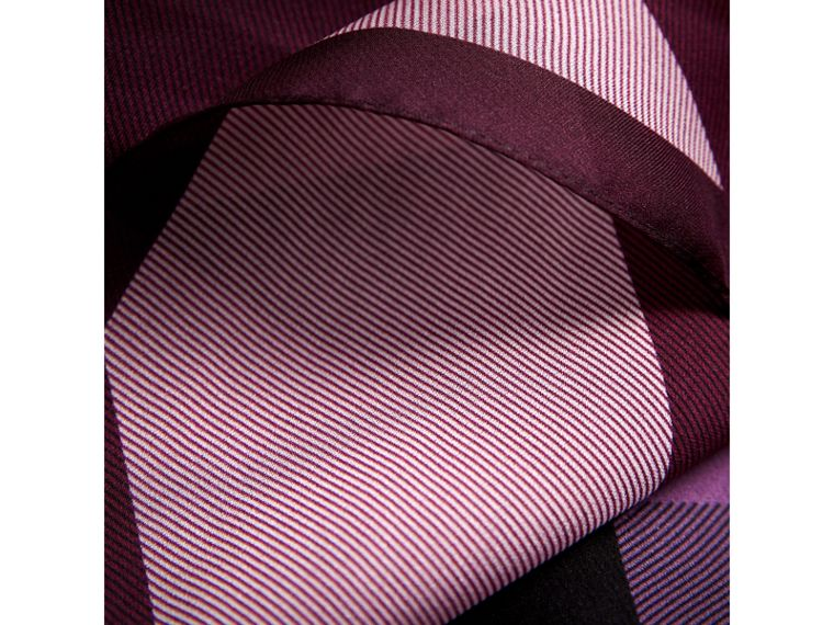 Ombré Washed Check Silk Scarf in Plum - Women | Burberry United Kingdom - cell image 1