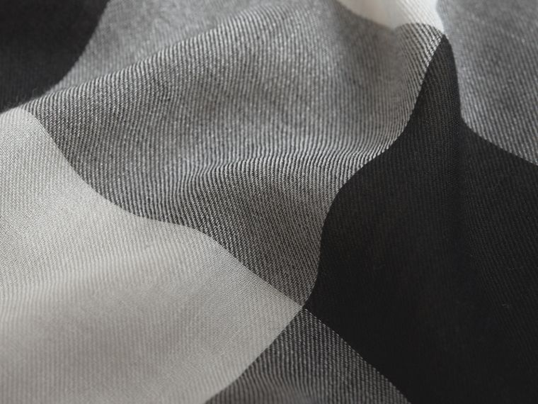Large Lightweight Check Silk Modal Wool Square Scarf in Mid Grey - Men | Burberry - cell image 1