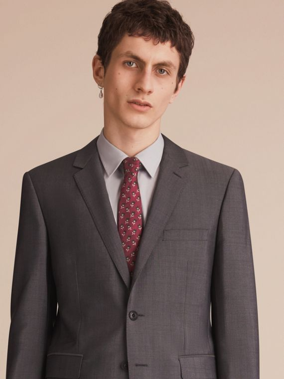 Modern Cut Floral Silk Jacquard Tie in Plum Pink - Men | Burberry - cell image 2