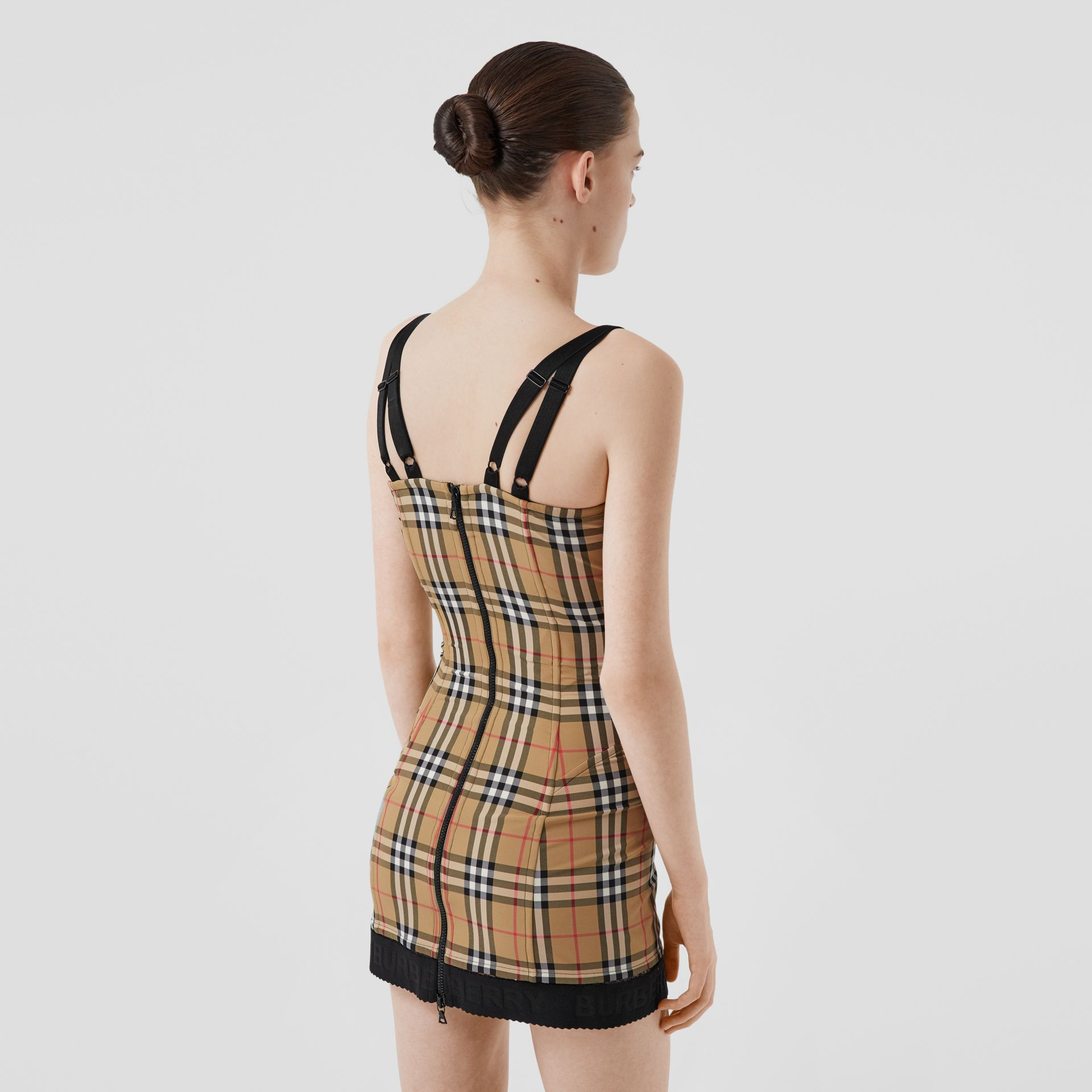 Vintage Check Stretch Jersey Corset Dress in Archive Beige - Women | Burberry - gallery image 2