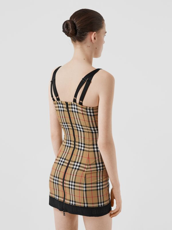 Vintage Check Stretch Jersey Corset Dress in Archive Beige - Women | Burberry - cell image 2