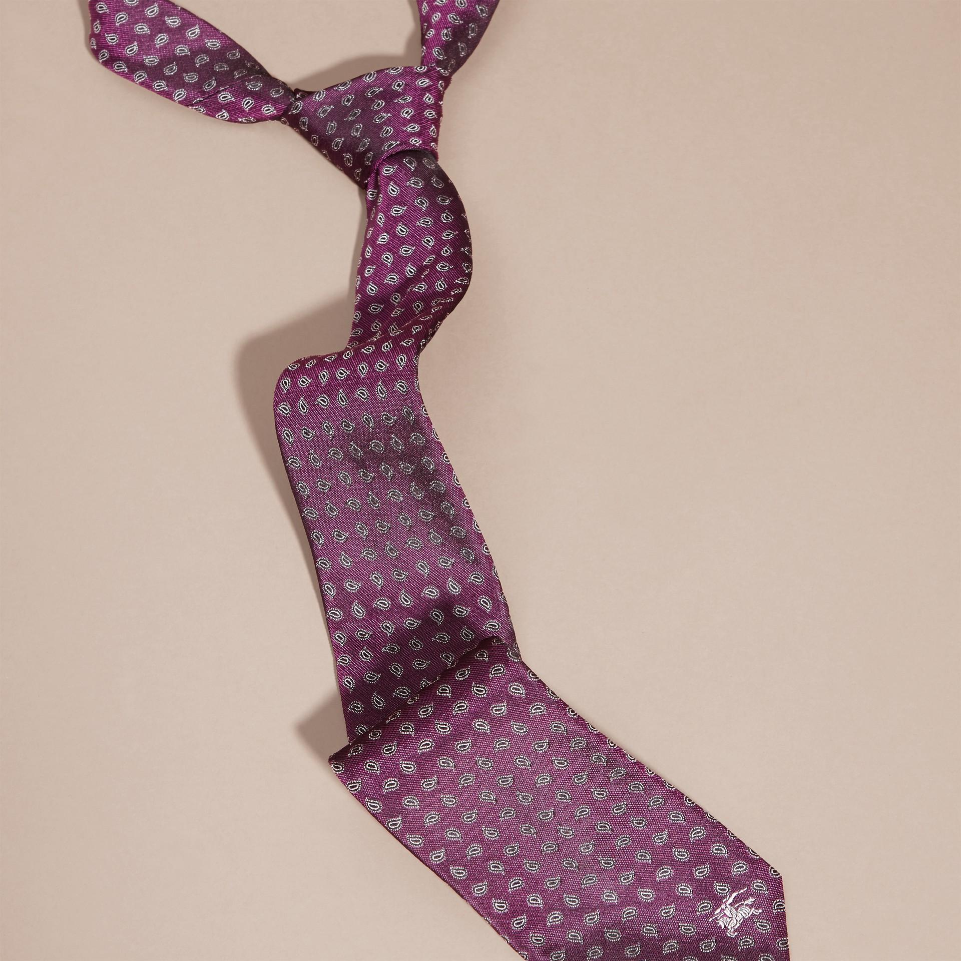 Purple Modern Cut Paisley Jacquard Silk Tie - gallery image 3