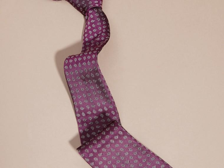 Purple Modern Cut Paisley Jacquard Silk Tie - cell image 2