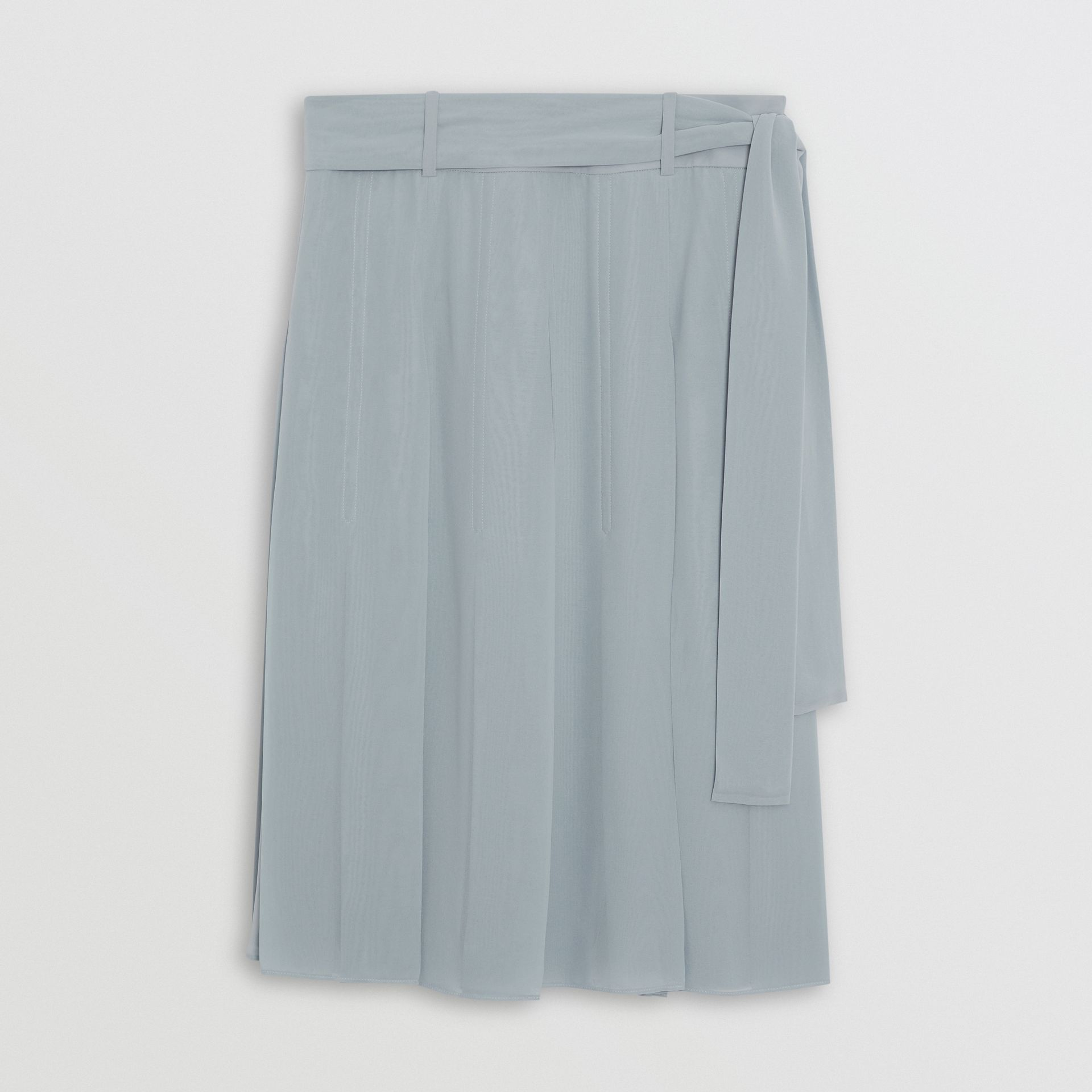 Tie-waist Pleated Georgette Skirt in Dusty Blue - Women | Burberry Singapore - gallery image 3