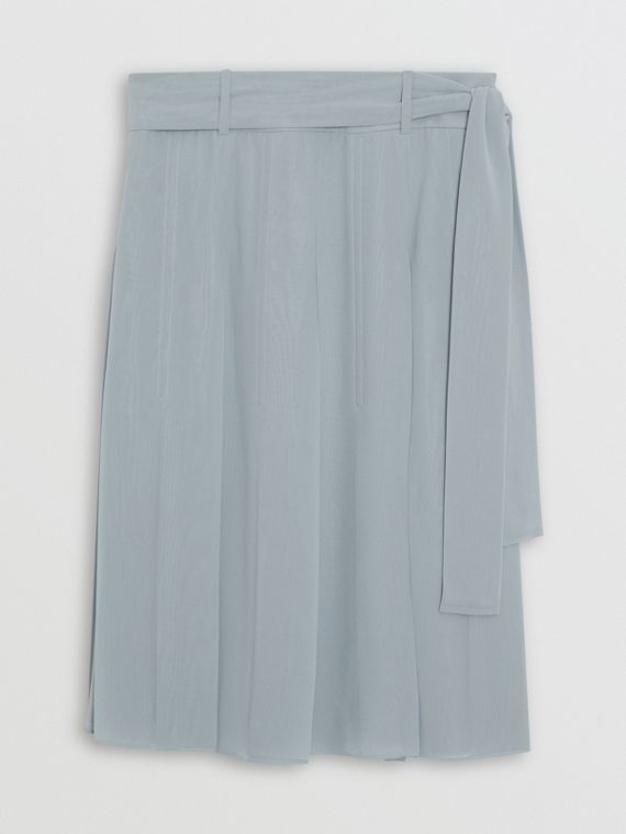 Tie-waist Pleated Georgette Skirt in Dusty Blue