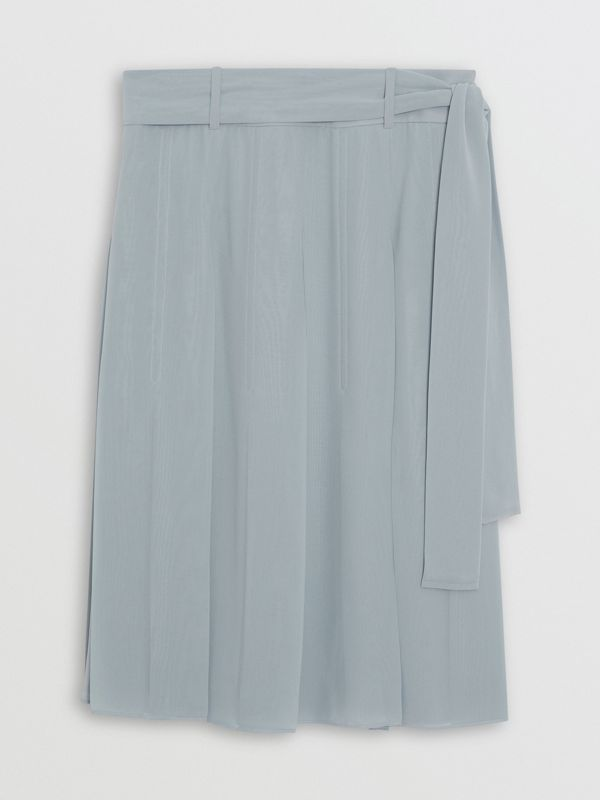 Tie-waist Pleated Georgette Skirt in Dusty Blue - Women | Burberry United Kingdom - cell image 3