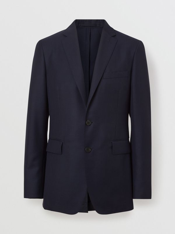 Slim Fit Wool Mohair Silk Suit in Navy - Men | Burberry - cell image 3