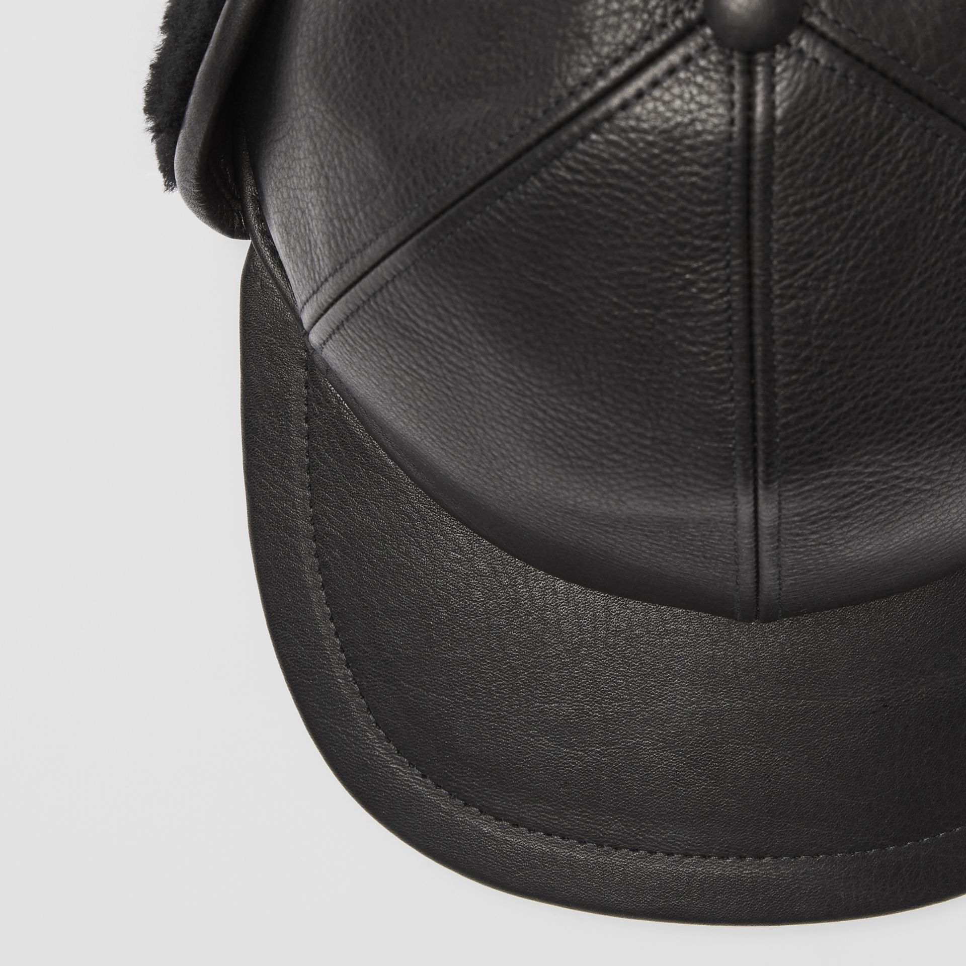 Shearling and Leather Baseball Cap in Black | Burberry Australia - gallery image 1