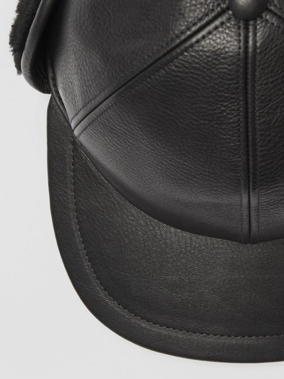 Shearling and Leather Baseball Cap in Black | Burberry - cell image 1