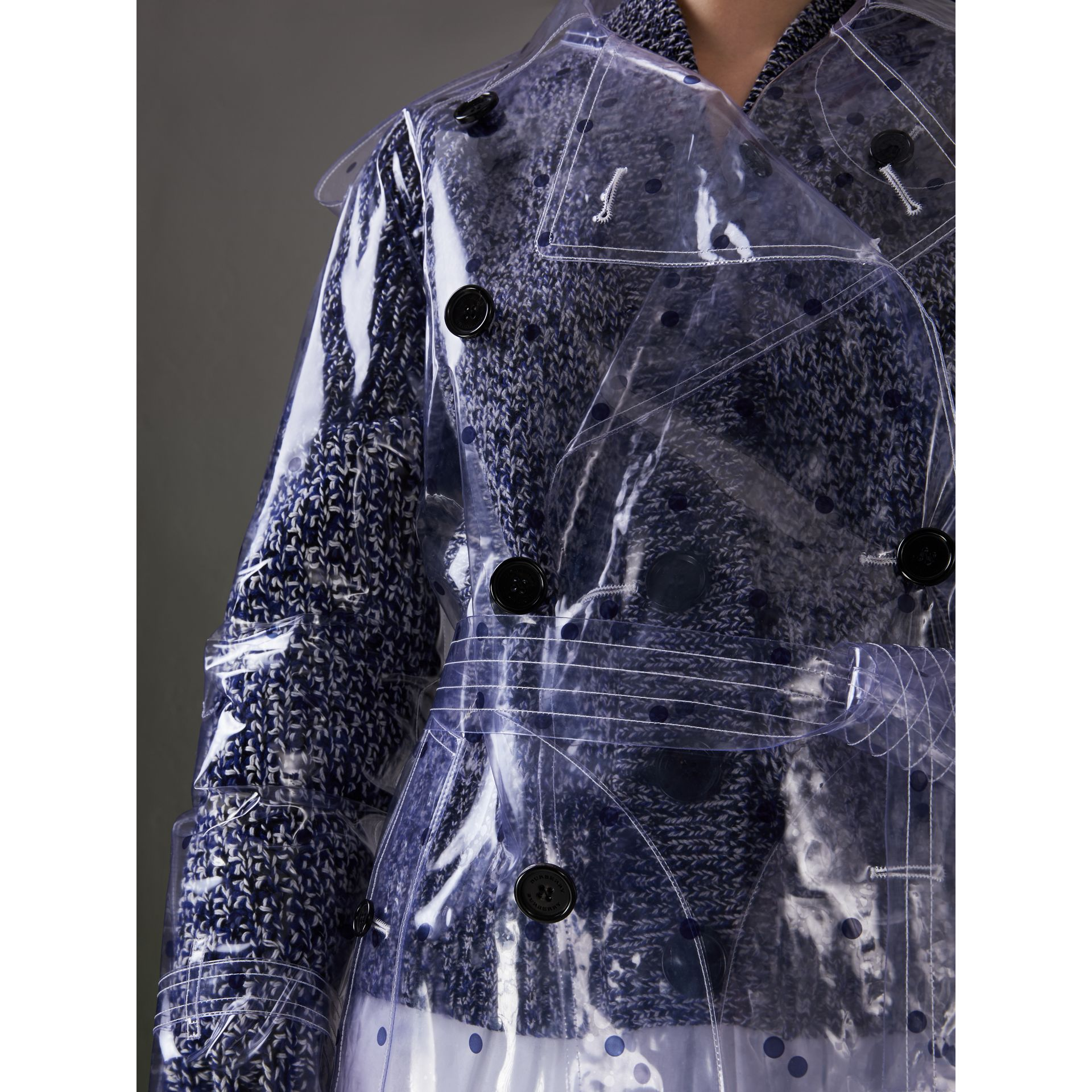 Polka-dot Plastic Trench Coat – Online Exclusive in Navy - Women | Burberry - gallery image 1