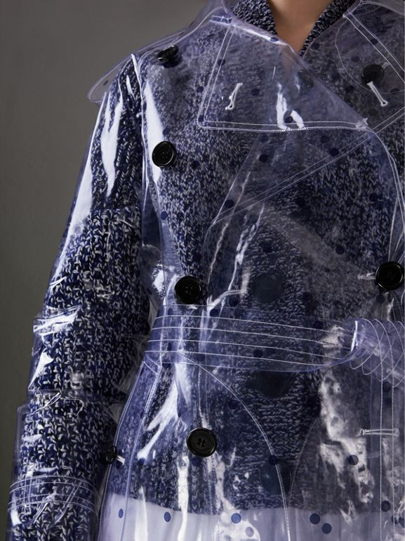 Polka-dot Plastic Trench Coat – Online Exclusive in Navy - Women | Burberry United Kingdom - cell image 1