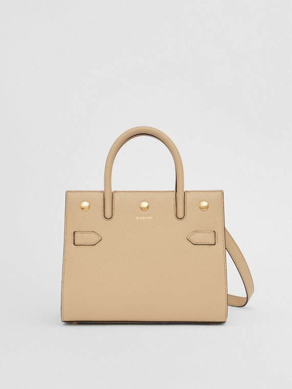 Mini Leather Two-handle Title Bag in Light Beige