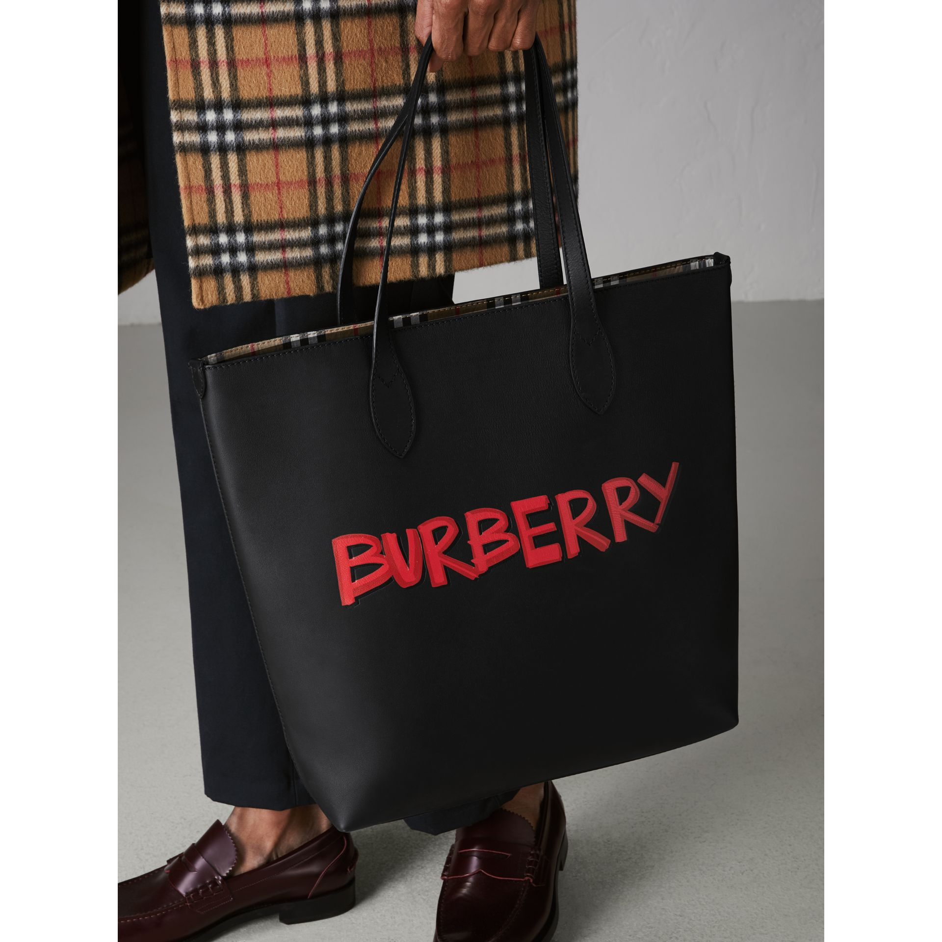 Graffiti Print Bonded Leather Tote in Black | Burberry - gallery image 3