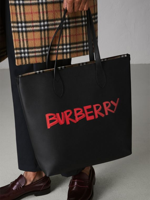 Graffiti Print Bonded Leather Tote in Black | Burberry - cell image 3