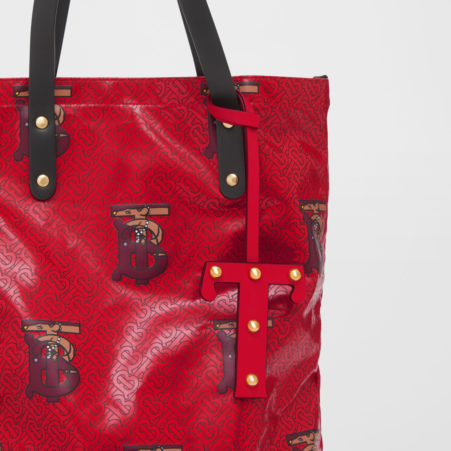 'T' Studded Leather Alphabet Charm in Red/light Gold - Women | Burberry Hong Kong S.A.R - gallery image 3