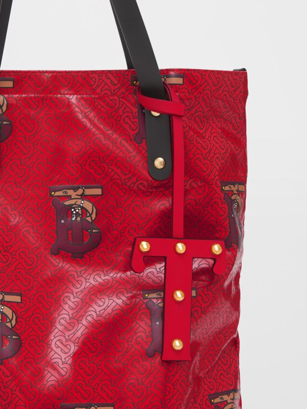 'T' Studded Leather Alphabet Charm in Red/light Gold - Women | Burberry Hong Kong S.A.R - cell image 3