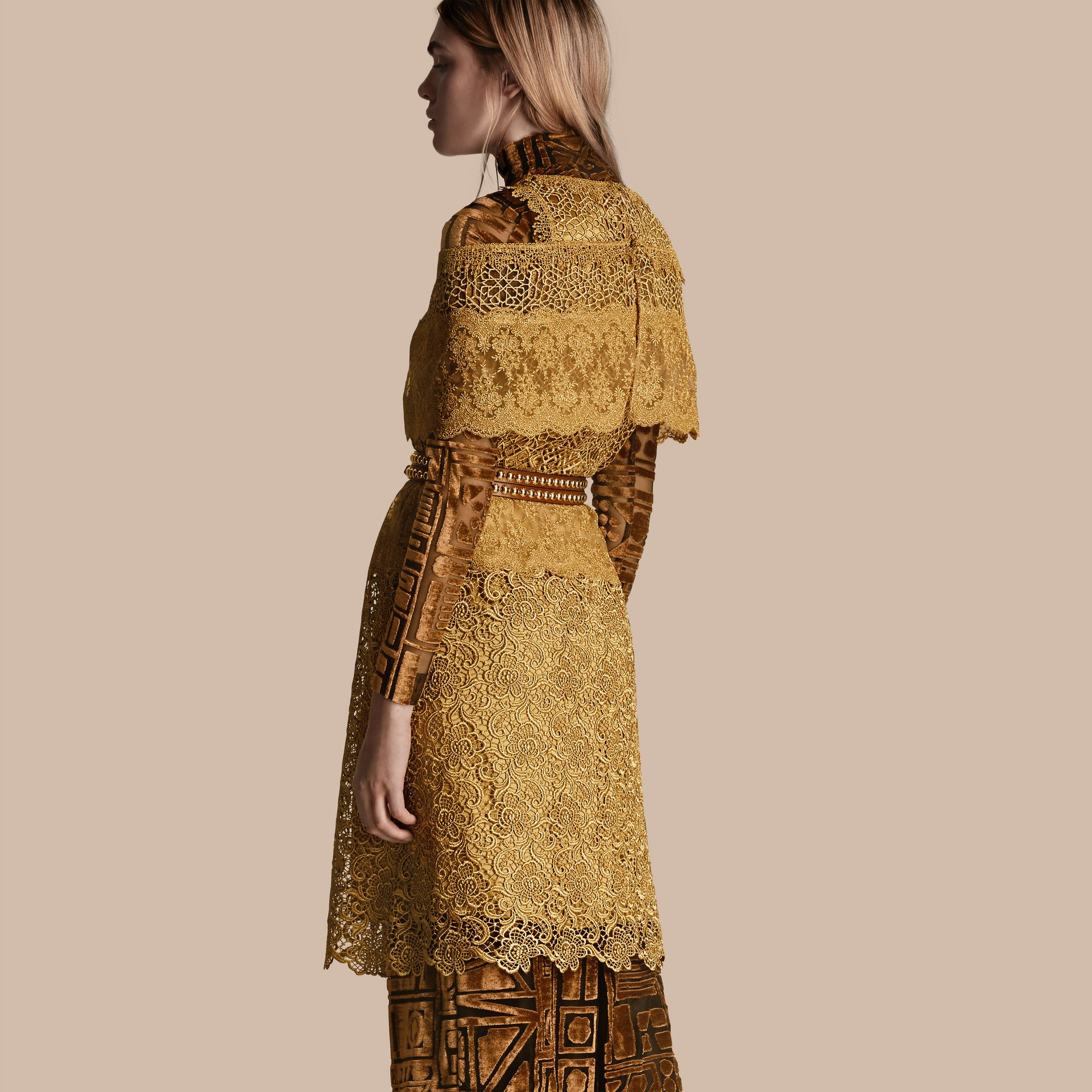 Gold Cape-sleeved Macramé Dress - gallery image 3