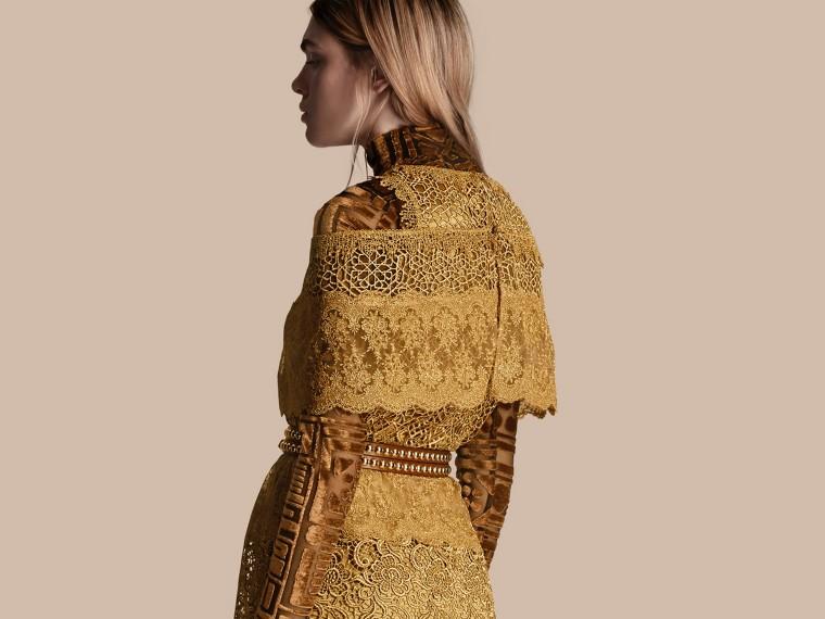 Cape-sleeved Macramé Dress