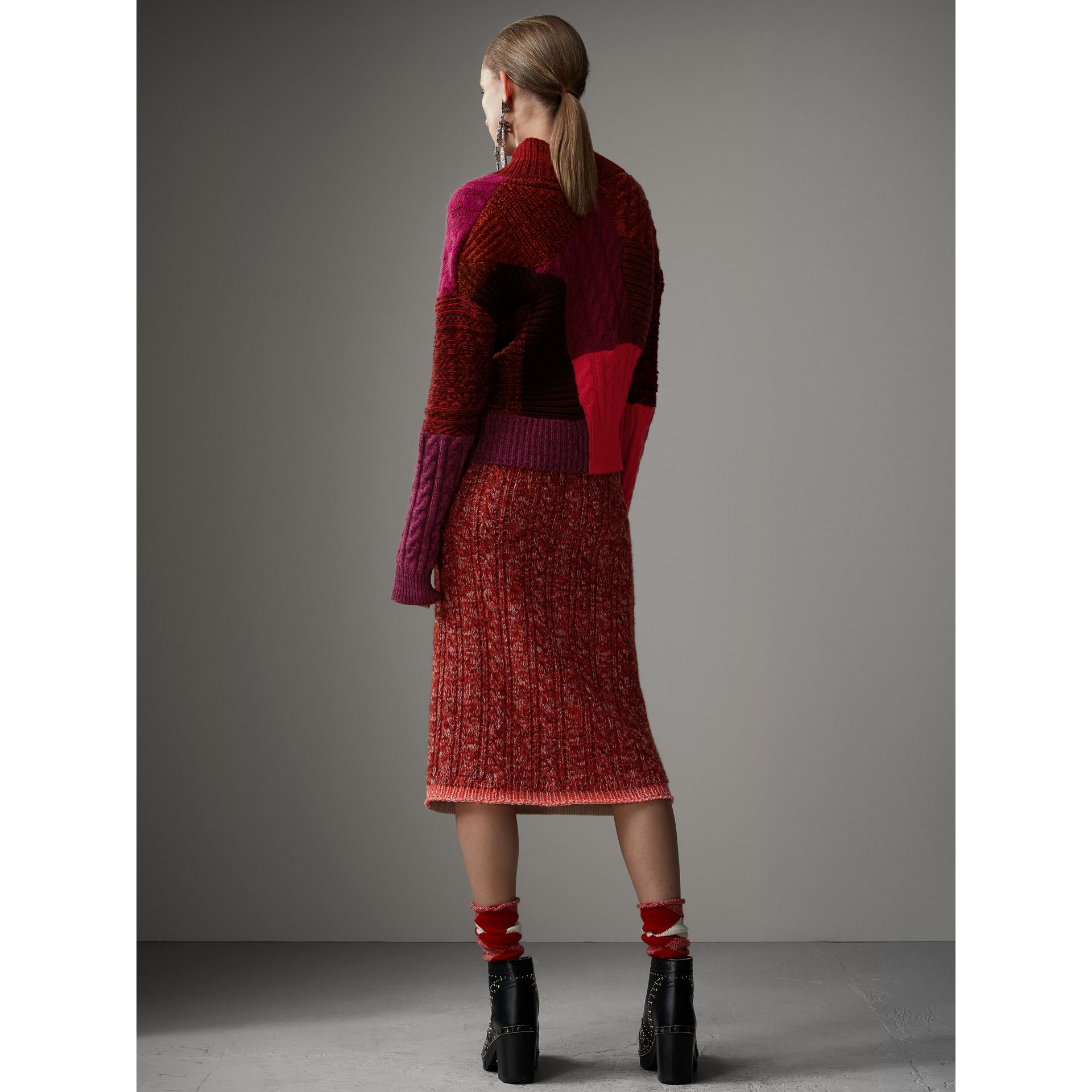 Cashmere Wool Patchwork Sweater in Berry Red - Women | Burberry - gallery image 2