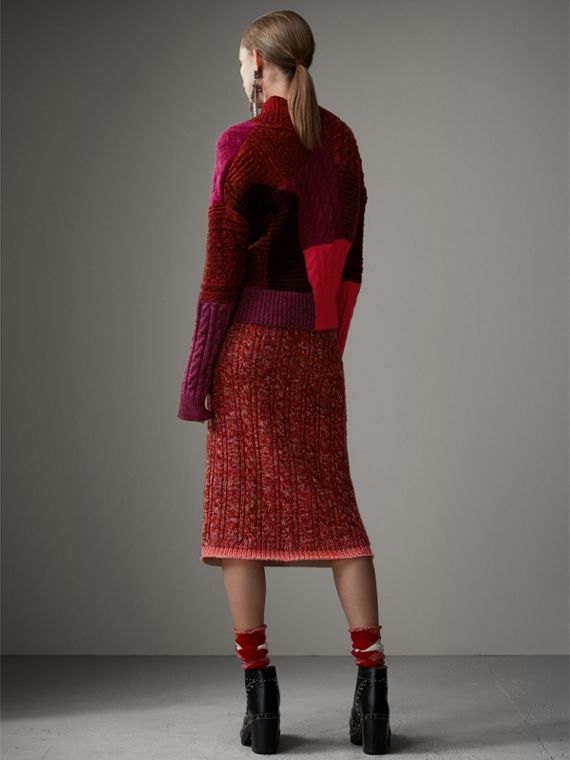 Cashmere Wool Patchwork Sweater in Berry Red - Women | Burberry - cell image 2