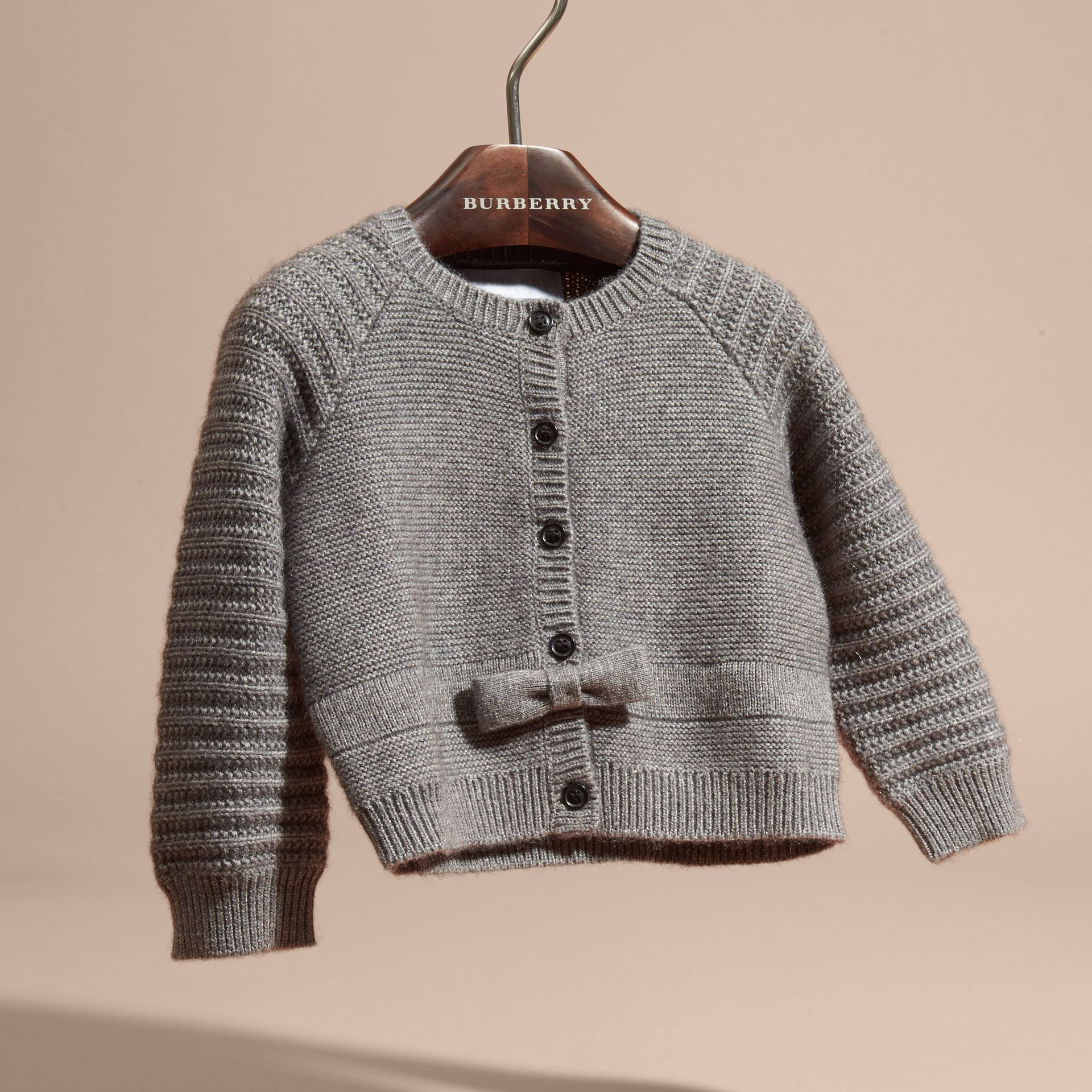 Mid grey melange Multi-stitch Cashmere Cotton Cardigan - gallery image 3