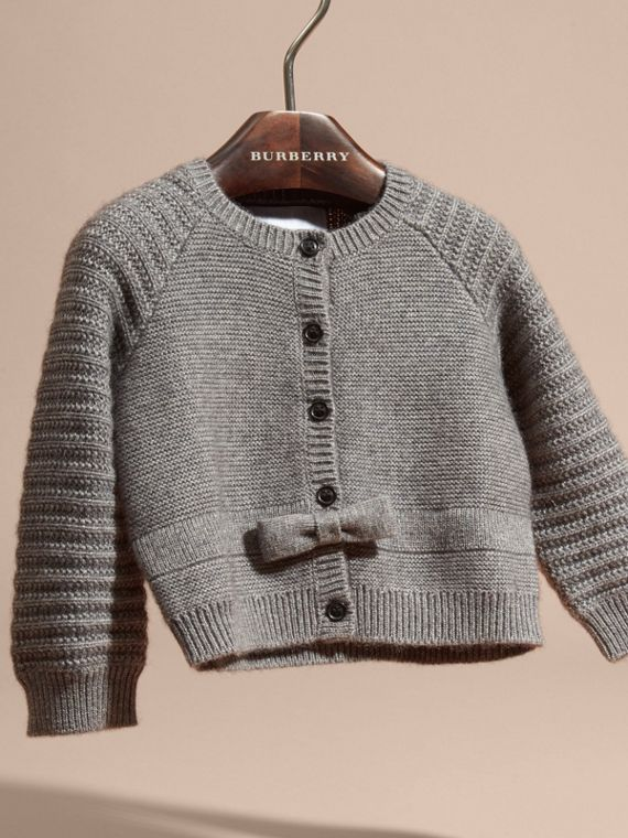 Mid grey melange Multi-stitch Cashmere Cotton Cardigan - cell image 2