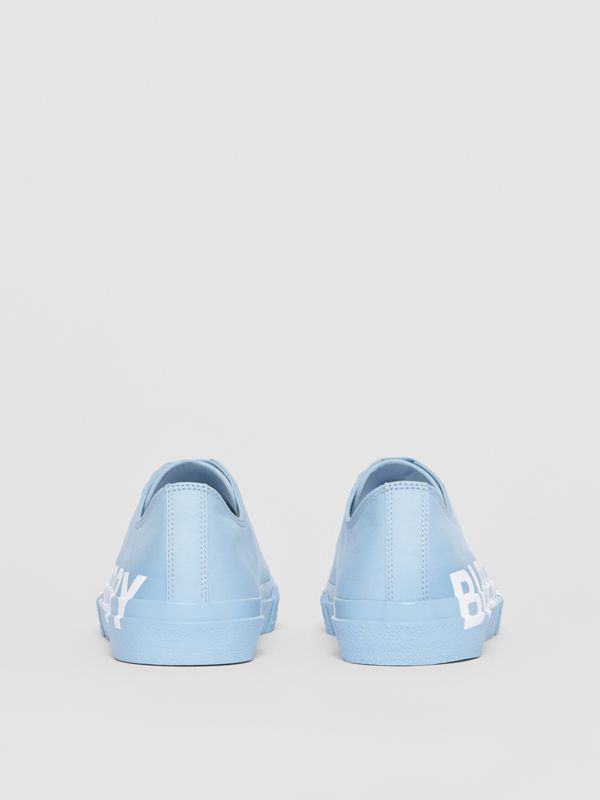 Logo Print Cotton Gabardine Sneakers in Blue Overdyed - Men | Burberry - cell image 3