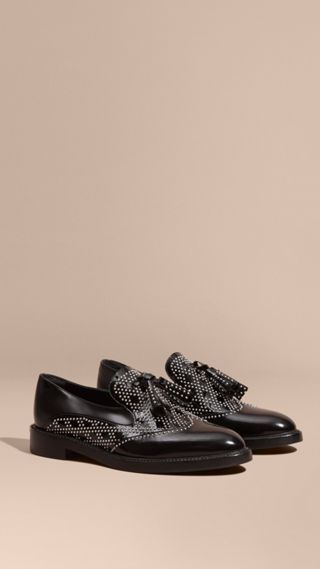 Studded Leather Tassel Loafers