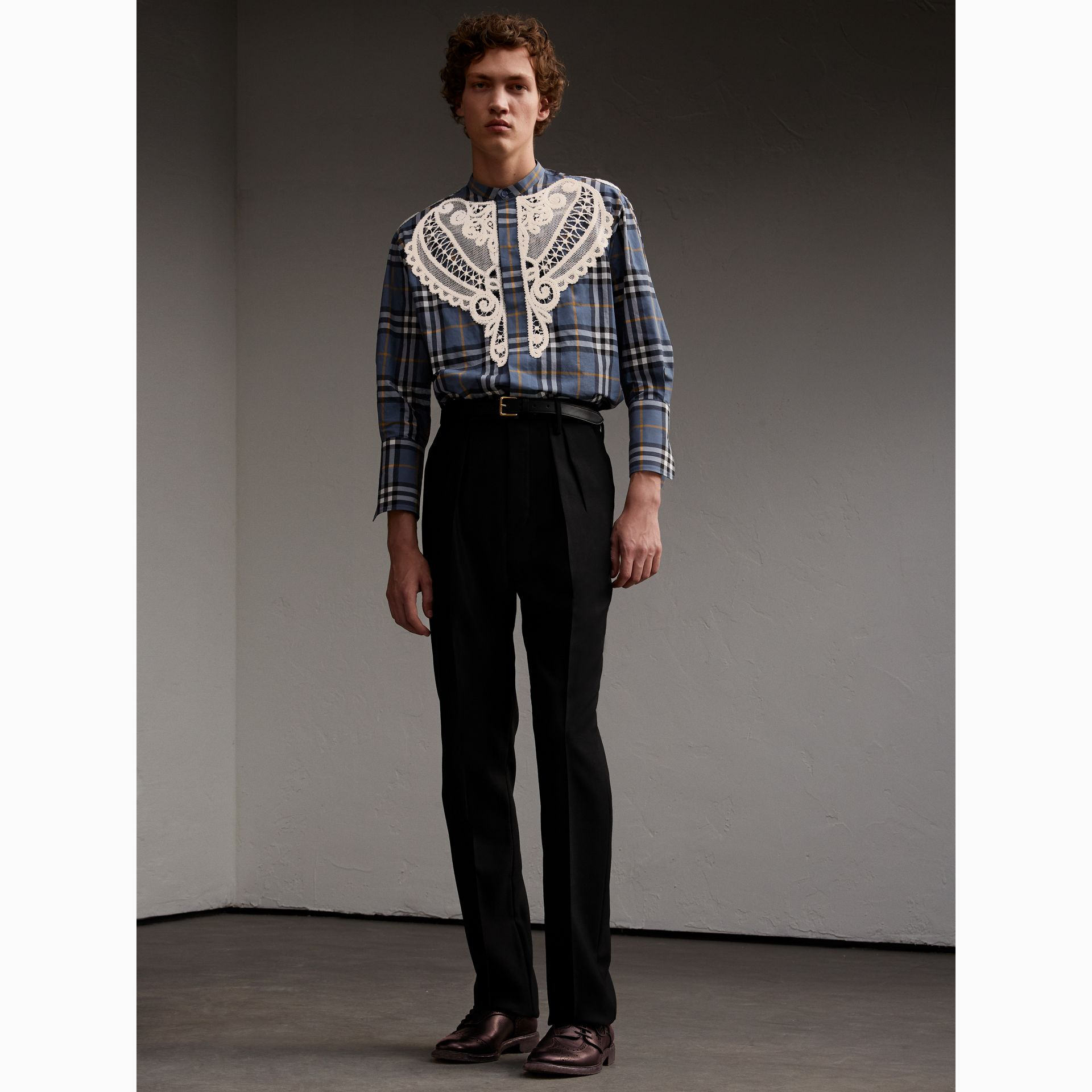 Lace Appliqué Check Cotton Shirt - Men | Burberry - gallery image 6