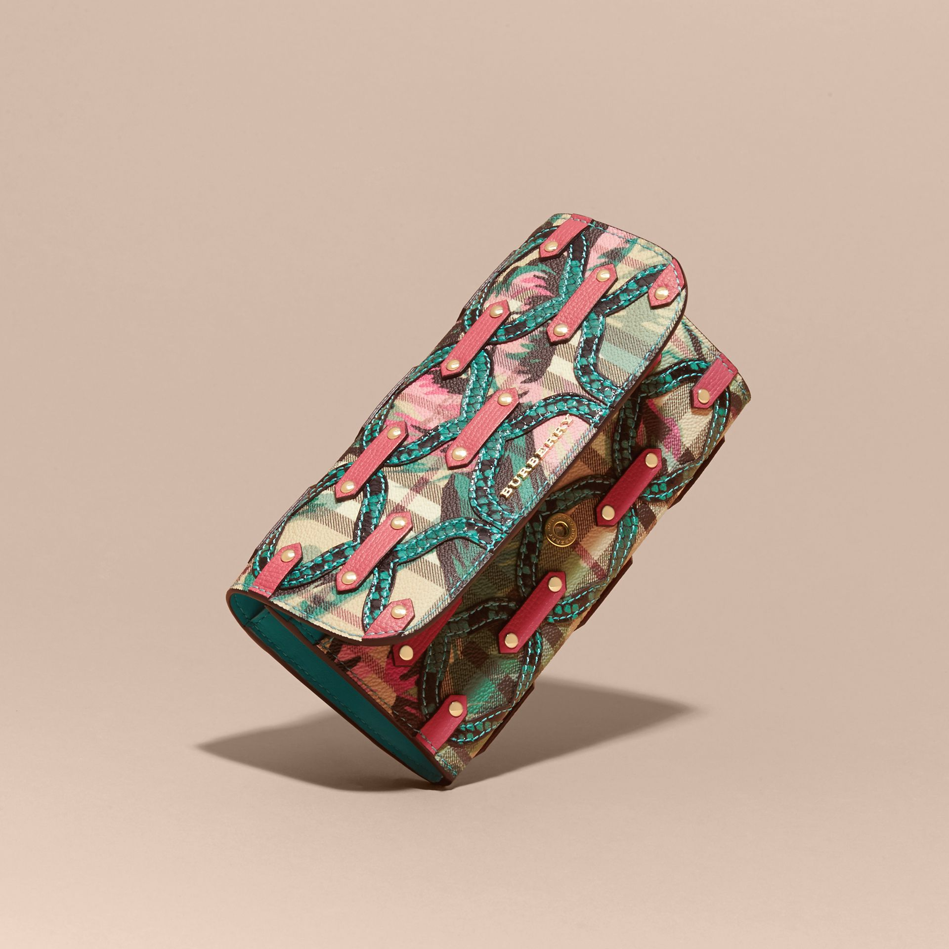 Mineral blue Snakeskin Appliqué Peony Rose Print Haymarket Check Continental Wallet Mineral Blue - gallery image 3