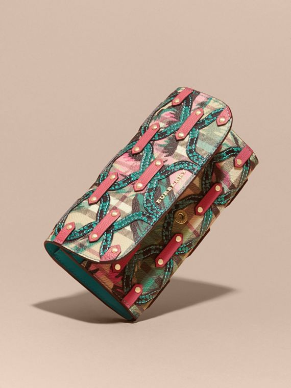 Mineral blue Snakeskin Appliqué Peony Rose Print Haymarket Check Continental Wallet Mineral Blue - cell image 2