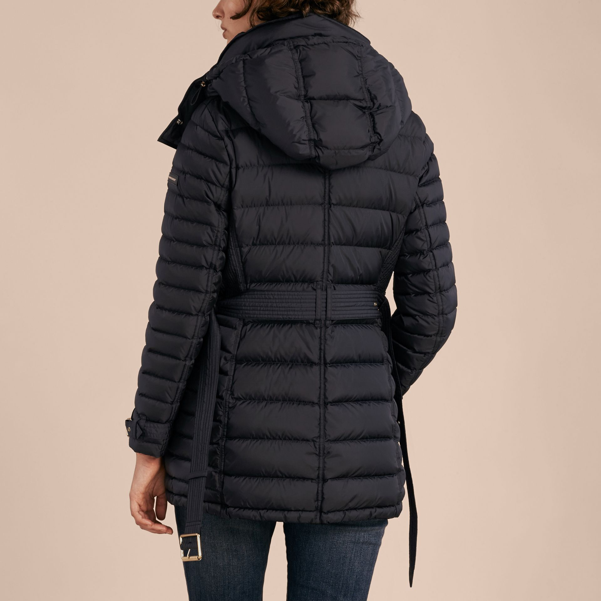 Navy Down-filled Puffer Jacket with Packaway Hood Navy - gallery image 3