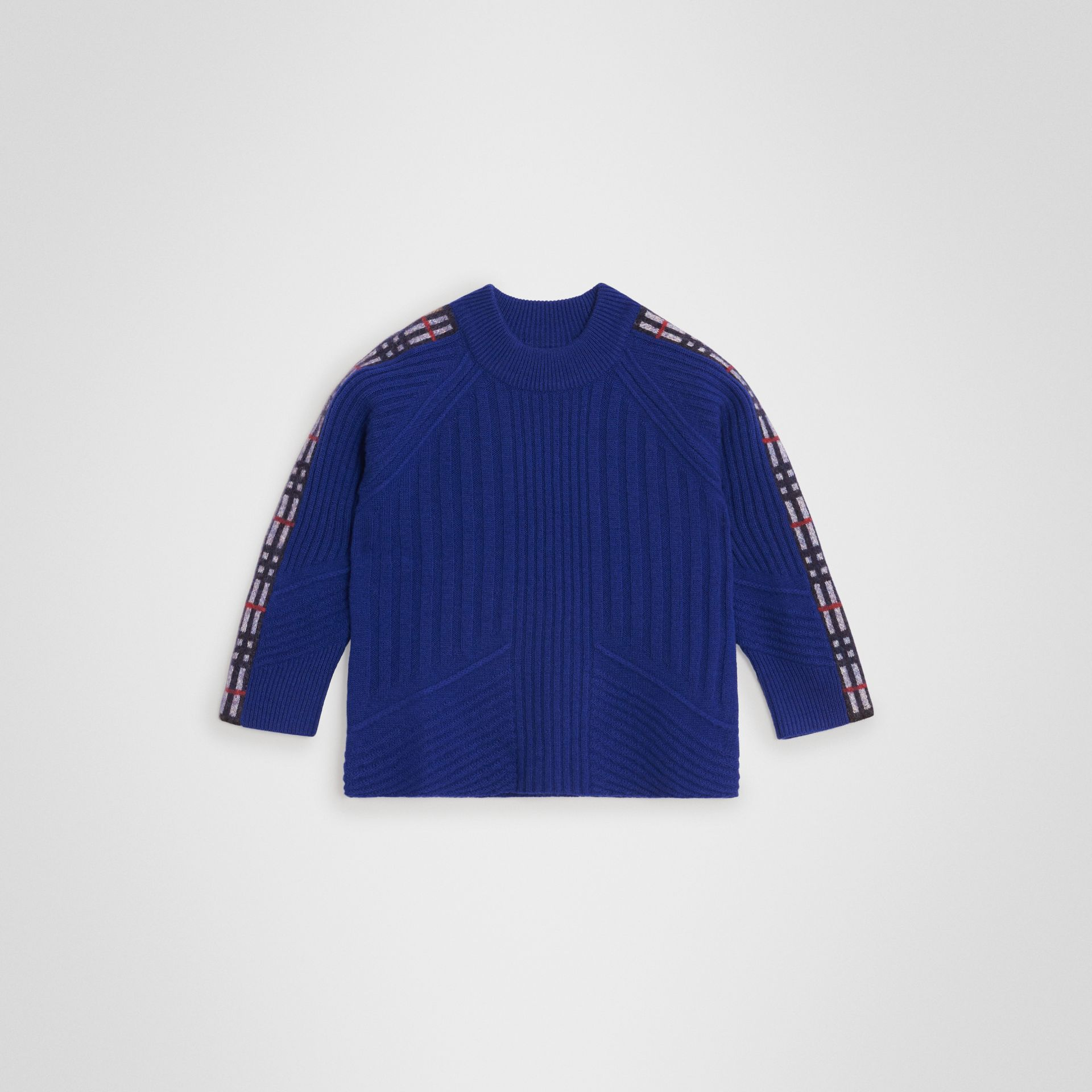 Check Detail Wool Cashmere Sweater in Cobalt Blue | Burberry - gallery image 0