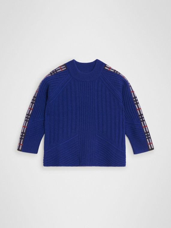 Check Detail Wool Cashmere Sweater in Cobalt Blue