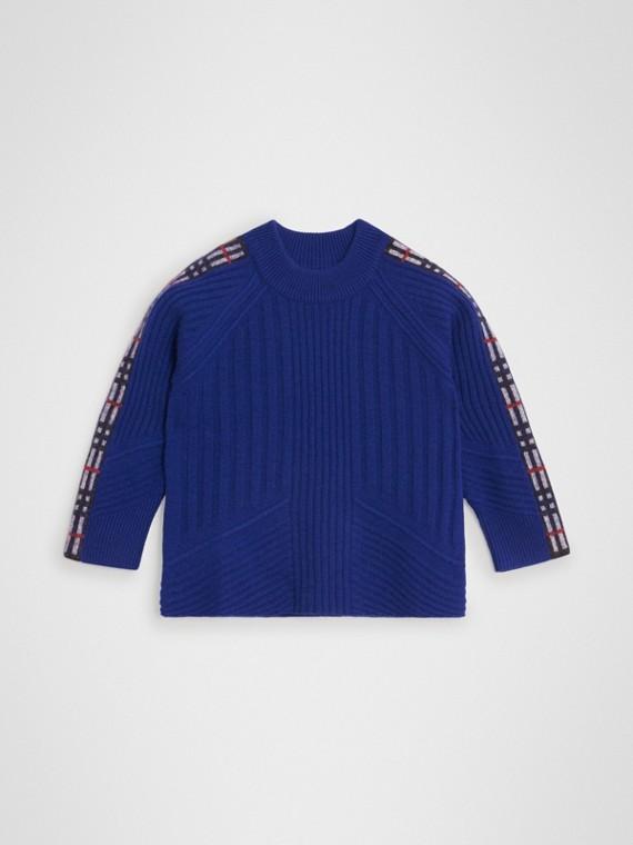 Pull en laine et cachemire avec détails check (Bleu Cobalt)