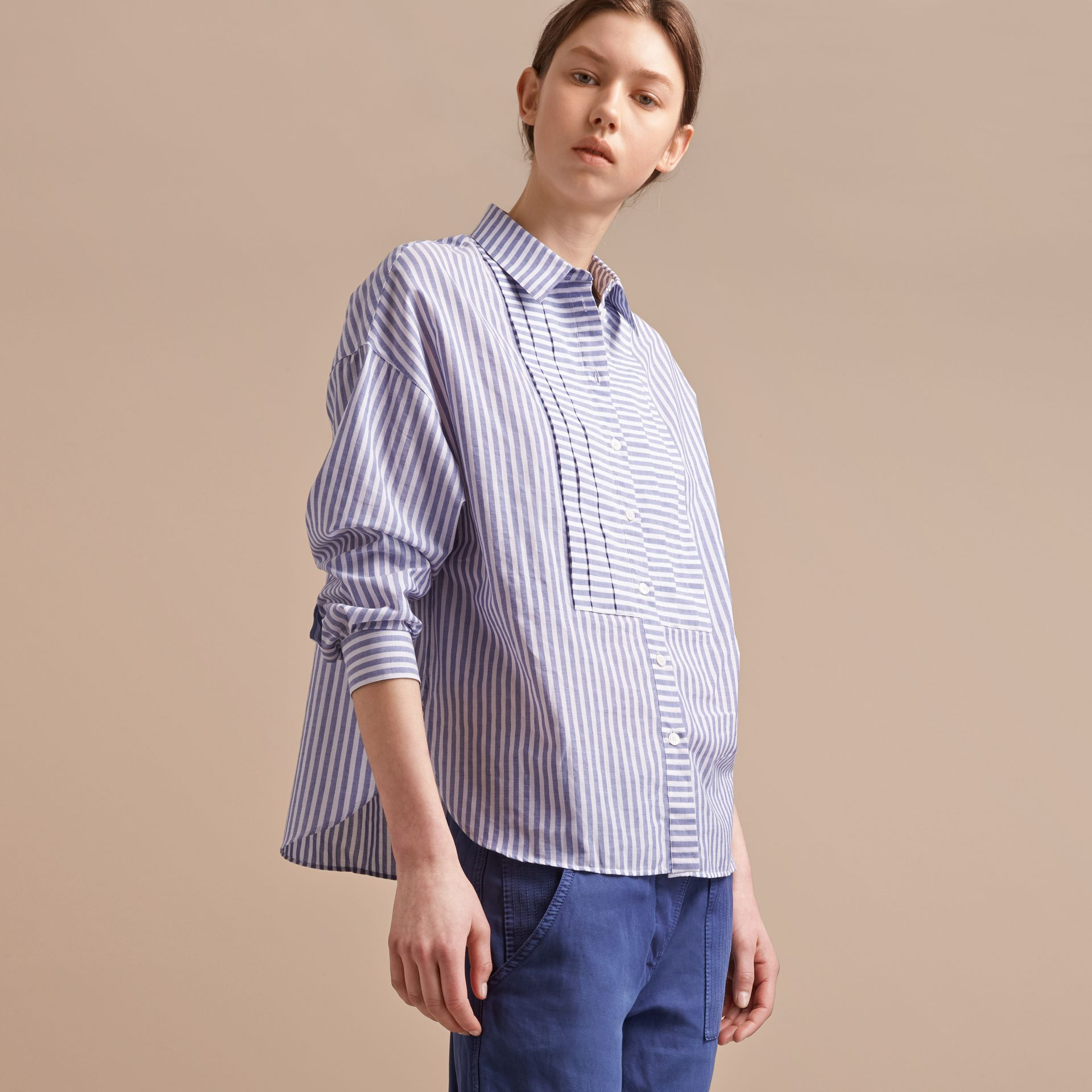 Pleated Bib Striped Cotton Shirt - gallery image 6