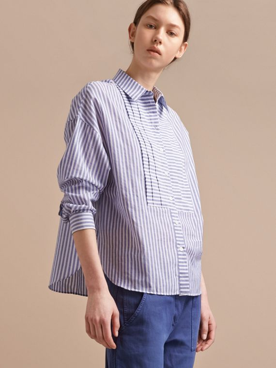 Pleated Bib Striped Cotton Shirt