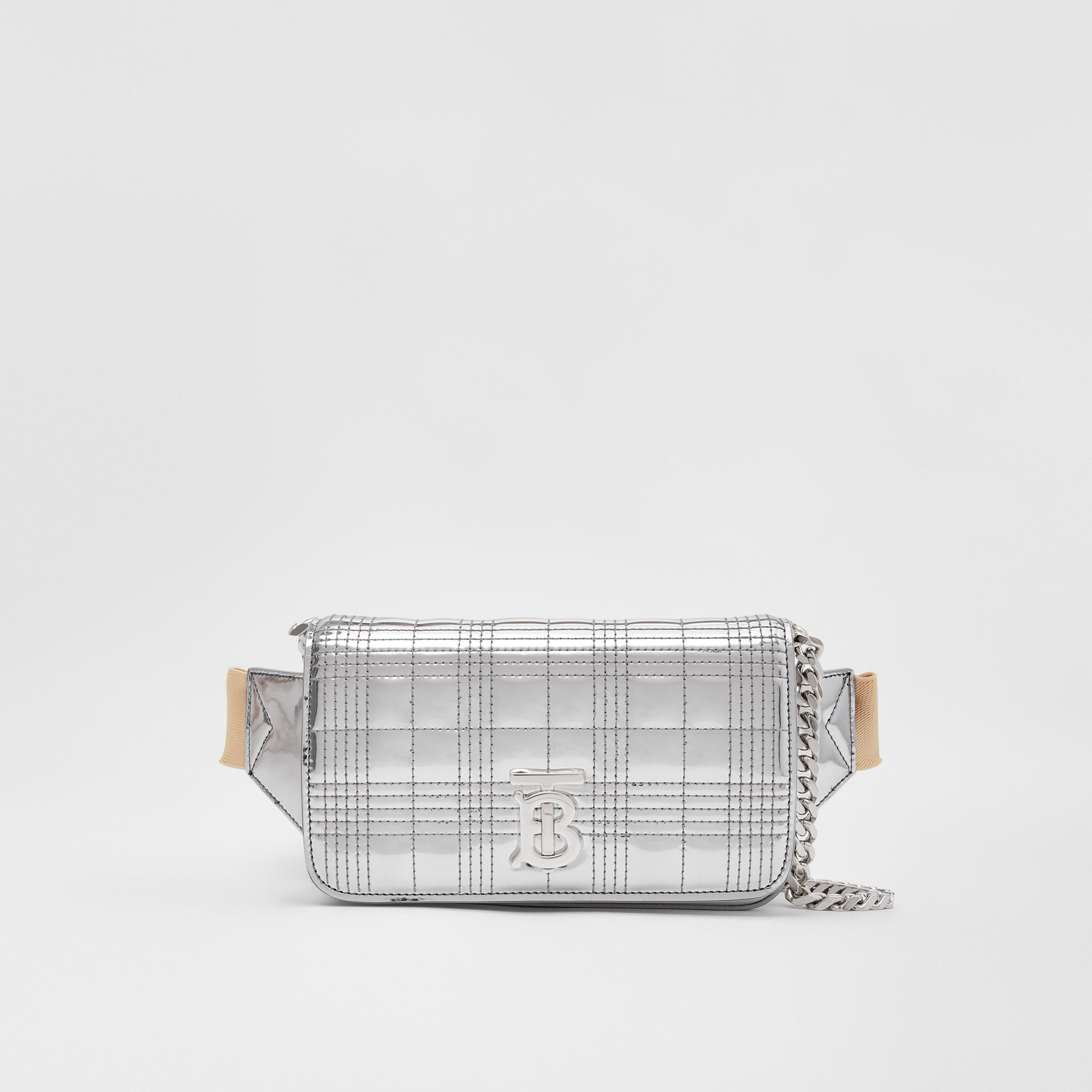 Quilted Metallic Lola Bum Bag with Chain Strap in Silver | Burberry - gallery image 0